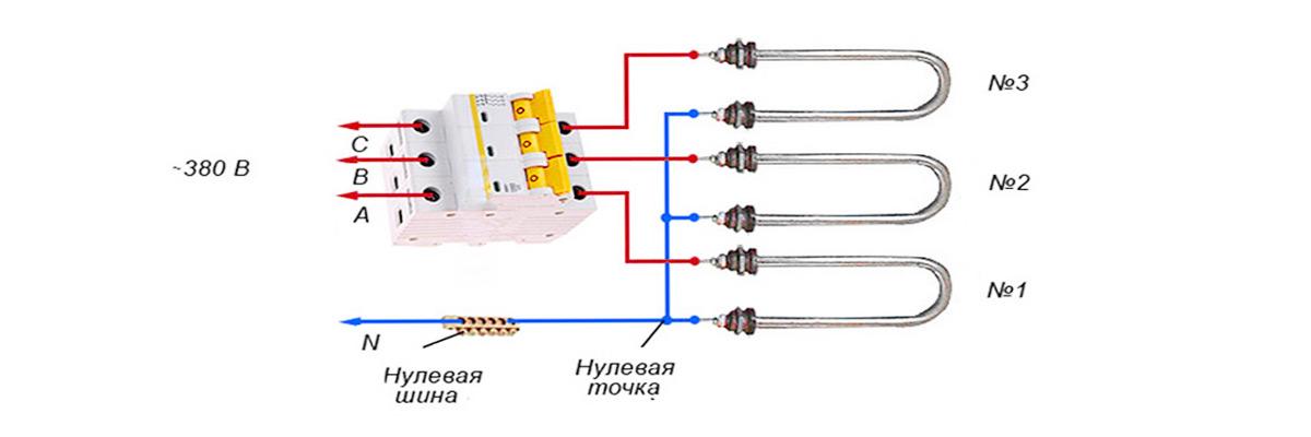 Типы подключения ТЭНов типа ЗВЕЗДА для трехфазной сети