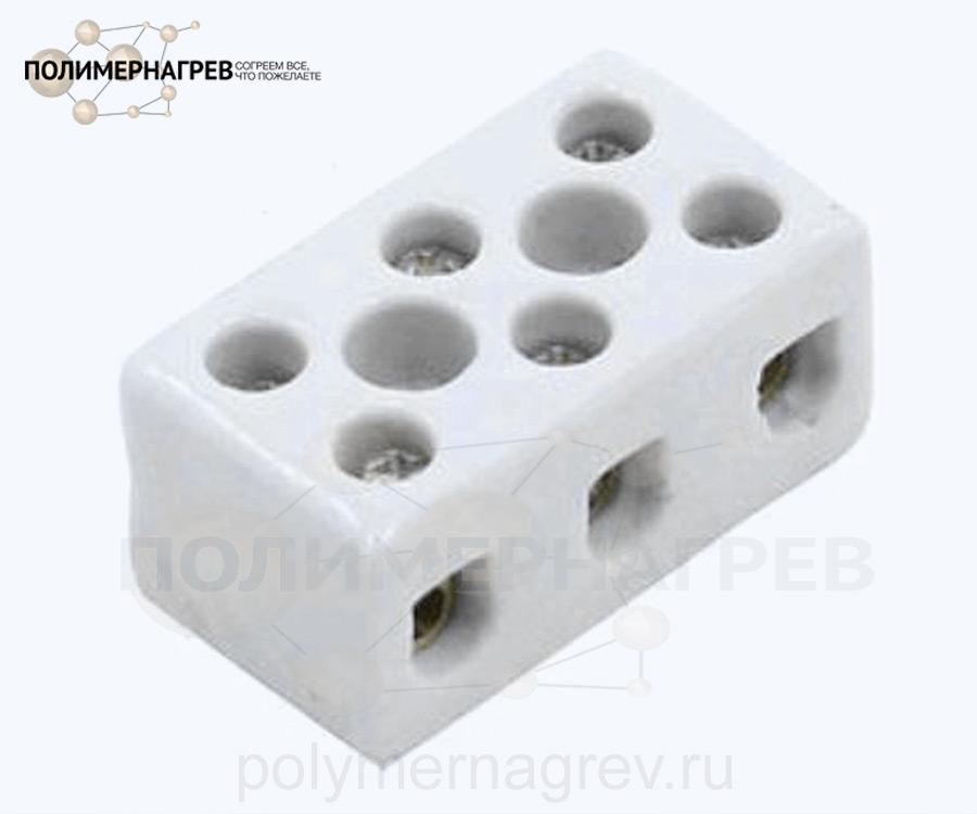 Керамическая колодка клеммная трехконтактная внутренняя